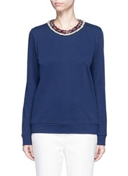 Lanvin Embellished Neck Cotton Sweatshirt Blue