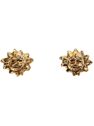 Hermes Vintage Sun Clip On Earrings Metallic