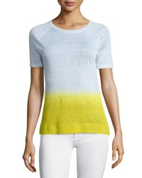 Theory Toraely Sag Harbor Ombre Sweater White Chartreuse