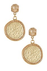 Vince Camuto Hammered Medallion Pave Double Drop Earrings Metallic