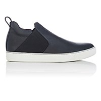 Lanvin Men's Slip On Mid Top Sneakers Black White Blue Black White Blue