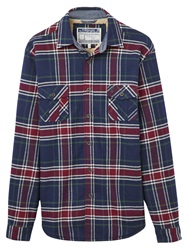 Joules Cawthorne Fleece Lined Shirt Jacket Navy Check