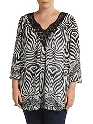 Harlow Zee Sizes 14 24 Crochet V Neck Printed Tunic Black White