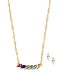 Charter Club Multicolor Stone Gold Tone Necklace And Stud Earrings Set Only At Macy's