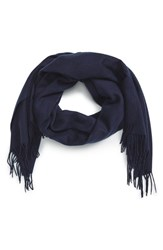 David And Young Women's Fringe Solid Scarf Navy