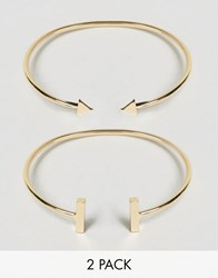 Ny Lon Nylon 2 Pack Cuff Bracelets With Bar And Arrow Detail Gold