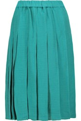 Marni Gonna Pleated Linen And Cotton Blend Skirt Jade