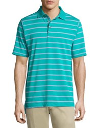 Bobby Jones Stripe Print Short Sleeve Polo Shirt Green