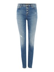 Guess Butt Fly High Rise Skinny Jean Denim Light Wash