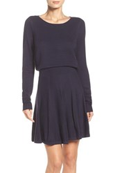 Eliza J Women's Sweater Fit And Flare Dress Navy
