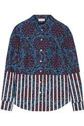 Suno Printed Cotton Poplin Top Blue