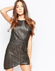 Madam Rage Metallic Dog Tooth Shift Dress With Asymmetric Hem Bronze Gold