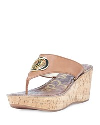 Sam Edelman Ruth Leather Wedge Sandal Saddle