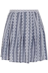 Band Of Outsiders Embroidered Cotton Chambray Mini Skirt Blue