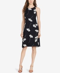 American Living Floral Print Georgette Dress Navy White