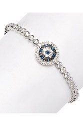 18K White Gold Plated Sterling Silver Cz Evil Eye Charm Tennis Bracelet Metallic