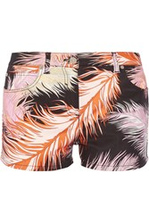 Emilio Pucci Feather Print Cotton Blend Shorts Black Peach