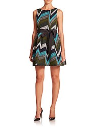 P.A.R.O.S.H. Petron Belted A Line Dress Blue Green