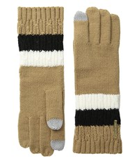 Michael Michael Kors Color Block Rib Cable Gloves With Touch Technology Cream Camel Black Extreme Cold Weather Gloves Beige