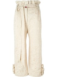 Ryan Lo Embossed Flower Trousers Nude And Neutrals