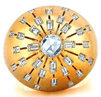 Susan Foster 18K Yellow Gold Sunburst Dome Ring With Baguettes And Rose Cut Diamond Tcw 2.04 Cts