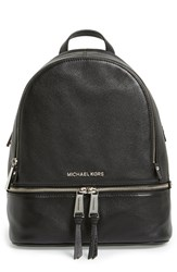 Michael Michael Kors 'Small Rhea Zip' Leather Backpack Black Black Silver