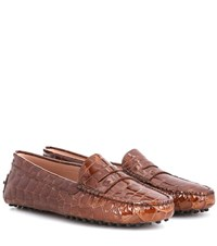 Tod's Mocassino Embossed Patent Leather Loafers Brown