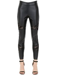 Pierre Mantoux Faux Leather Leggings W Lace Inserts