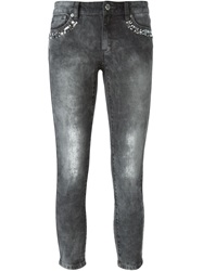 Michael Michael Kors Embellished Cropped Skinny Jeans Grey