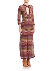 Free People Good Vibrations Sweater Gown Purple Combo