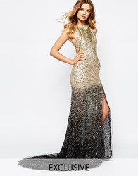A Star Is Born Luxe Embellished Ombre Sequin Maxi Dress With Red Carpet Train Multi