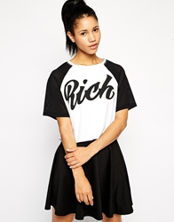Illustrated People Rich Crop T Shirt White