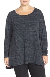 Sejour Print Long Sleeve High Low Tee Plus Size Black Blue Stripe