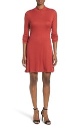 Matty M Women's Mock Neck Rib Knit Fit And Flare Dress Burnt Orange