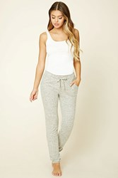 Forever 21 Marled Knit Pj Pants Heather Grey