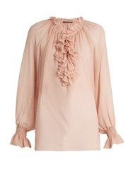 Roberto Cavalli Ruffle Trimmed Silk Georgette Blouse Light Pink