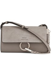Chloe Faye Mini Leather And Suede Shoulder Bag Gray
