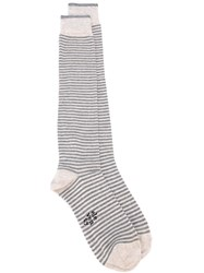 Eleventy Striped Socks Grey