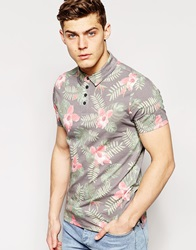Only And Sons Polo Shirt With All Over Floral Print Caviarwashedblack