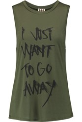 Haute Hippie I Want To Go Away Printed Modal Jersey Tank Army Green