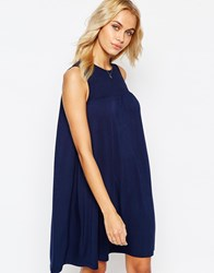 Asos Sleeveless Swing Dress With Ruching Detail Navy