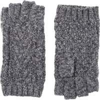 Barneys New York Knit Fingerless Gloves Grey
