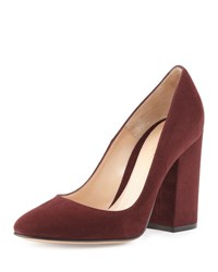 Gianvito Rossi Suede Chunky Heel 85Mm Pump Royal Burgundy Royale Burgundy