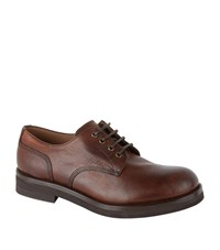 Brunello Cucinelli Grained Leather Derby Shoes Male Brown