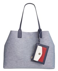 Tommy Hilfiger Th Reversible Double Sided Denim Tote Chambray Navy