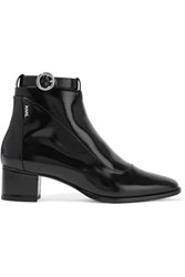 Karl Lagerfeld Polished Leather Ankle Boots Black