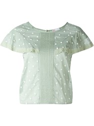 Red Valentino Embroidered Polka Dot Blouse Green