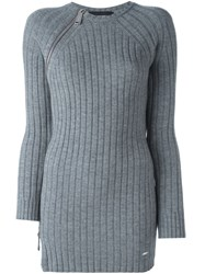 Dsquared2 Fitted Ribbed Knit Dress Grey