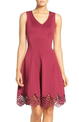 Maia Women's Lace Accent Scuba Fit And Flare Dress Raspberry