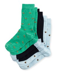 Neiman Marcus Three Pair Wardrobe Sock Set Assorted Green Blue